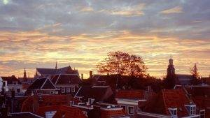 Sunset View over Old Town Leiden